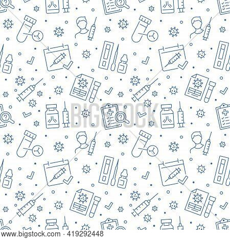 Covid Vaccine Blue Seamless Pattern. Vector Background Included Line Icons As Blood Antibody Report,