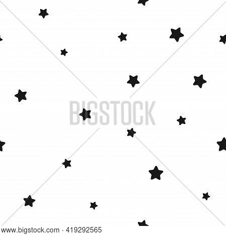 Seamless Abstract Pattern With Little Rounded Black Stars On White Background. Vector Illustration.