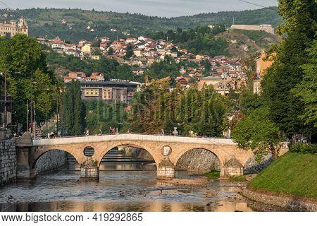 Sarajevo, BiH - August 29, 2019: Latin Bridge on Miljacka River in Sarajevo, Bosnia and Herzegovina