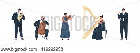 Musicians Performing Classic Melodies On Music Instruments. People Playing On Cello, Flute, Harp, Tr