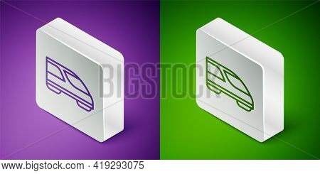 Isometric Line High-speed Train Icon Isolated On Purple And Green Background. Railroad Travel And Ra