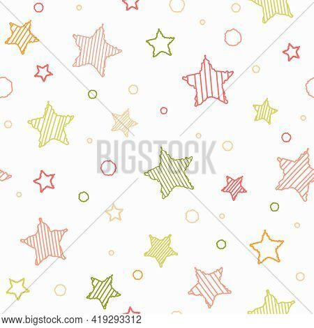 Seamless Abstract Pattern With Red And Green Hand Drawn Shabby Striped Stars. White Background. Chil