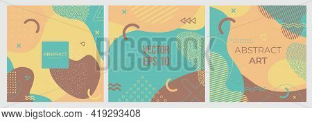 Memphis Style Banners Set Of Colorful Templates With Geometric Shapes, Patterns With Memphis Fashion