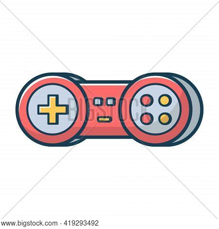 Red Game Joystick Icon. Joypad For Console, Pc And Video Games. Vector Illustration In Flat Line Sty