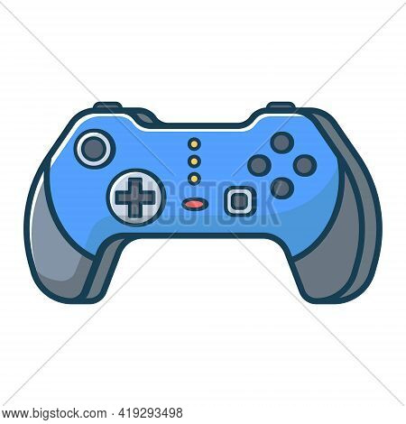Blue Game Joystick Icon. Joypad For Console, Pc And Video Games. Vector Illustration In Flat Line St