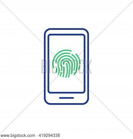 Finger Scan Access Icon On Mobile Phone. Fingerprint Scanning On Screen. Fingerprint Authentication