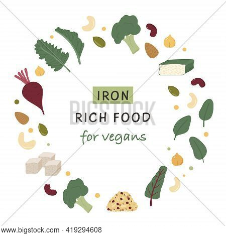 Collection Of Iron Rich Food Sources For Vegans. Beets, Tempeh, Kale, Quinoa, Broccoli, Tofu, Legume