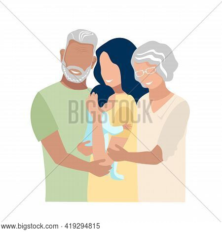 Elderly Parents Hug And Support Their Daughter As A Single Mother. Grandfather And Grandmother Joy A