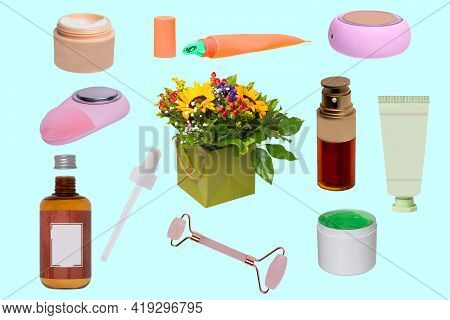 Natural Cosmetics Organic Beauty. Collage Of Cosmetic Products From Natural Plant Cultivation For He