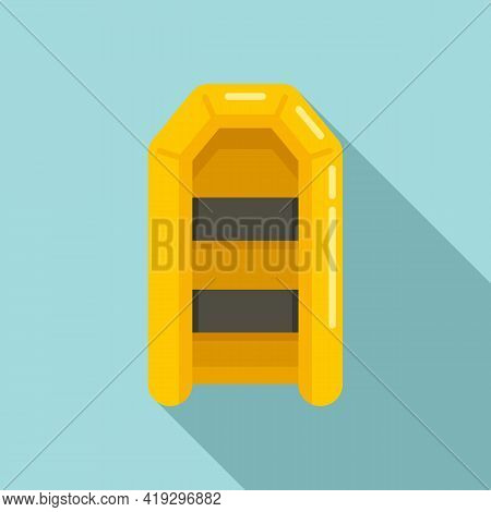 Illegal Rubber Boat Icon. Flat Illustration Of Illegal Rubber Boat Vector Icon For Web Design