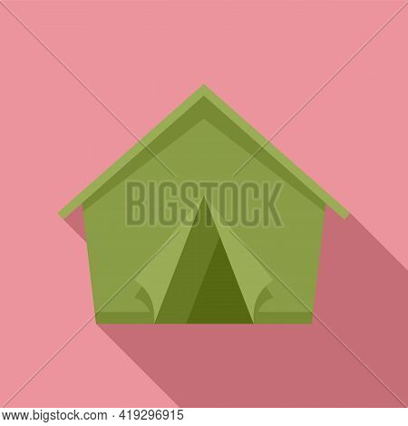 Refugees Tent Icon. Flat Illustration Of Refugees Tent Vector Icon For Web Design