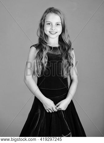 Girl Cute Child Wear Velvet Violet Dress. Clothes For Ballroom Dance. Kids Fashion. Kid Fashionable