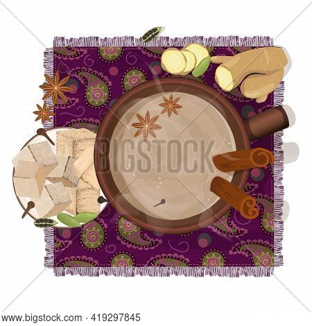 Traditional Indian Masala Tea. Eastern National Drink. Top View Of A Cup Of Hot Tea On A Napkin With