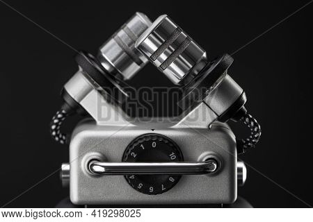 Dictaphone Digital Voice Recording. Portable Audio Digital Voice Recorder Dictation Isolated On Blac