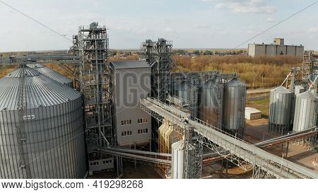 Aerial View Of Grain Storage Elevators. Grain Storage. Grain Storage Elevator In The Usa.