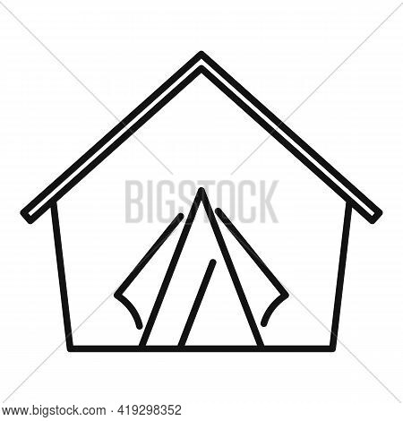 Refugees Tent Icon. Outline Refugees Tent Vector Icon For Web Design Isolated On White Background