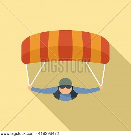 Parachuting Man Icon. Flat Illustration Of Parachuting Man Vector Icon For Web Design