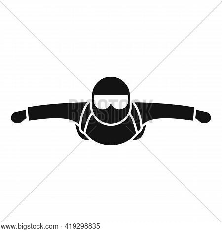 Man Skydiving Icon. Simple Illustration Of Man Skydiving Vector Icon For Web Design Isolated On Whit