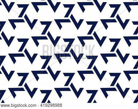 Triskelion Seamless Pattern. Black Symbols Isolated On White Background. Triple Spiral Symbol. Celti