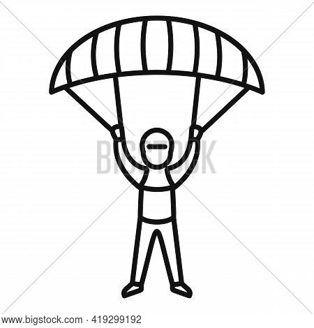 Paratrooper Icon. Outline Paratrooper Vector Icon For Web Design Isolated On White Background