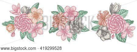 Flower Bouquet Of Pastel Hibiscus, Plum Flowers, Peach Flowers, Sakura Flowers, Magnolia Flowers, Ca