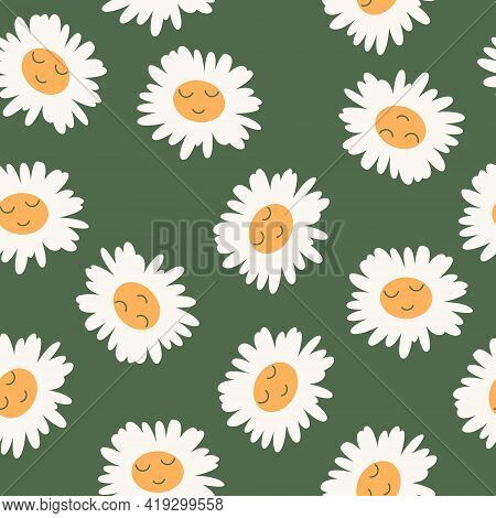 Abstract Floral Seamless Pattern With Chamomile With Cute Faces. Camomile Flowers. Trendy Hand Drawn