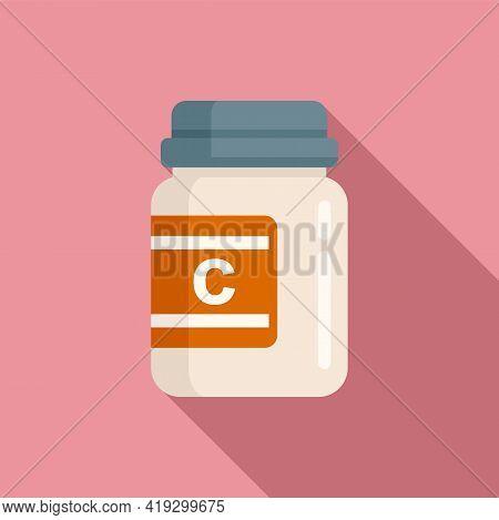 Vitamin Jar Icon. Flat Illustration Of Vitamin Jar Vector Icon For Web Design