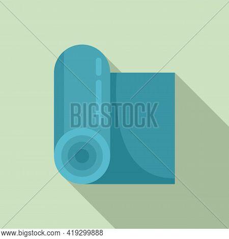 Yoga Mat Icon. Flat Illustration Of Yoga Mat Vector Icon For Web Design