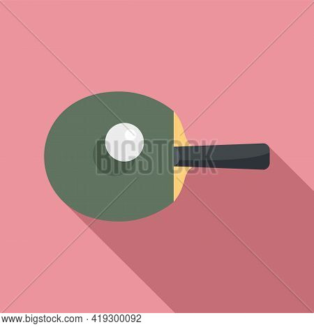 Ping Pong Paddle Icon. Flat Illustration Of Ping Pong Paddle Vector Icon For Web Design