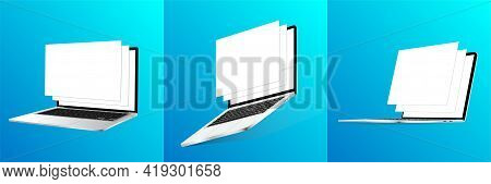 Responsive Mockups Laptop With Out-of-bounds Window Templates. Great 3d Realistic Devices On Gradien