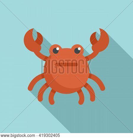 Crab Bath Toy Icon. Flat Illustration Of Crab Bath Toy Vector Icon For Web Design
