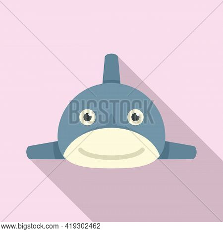 Smiling Shark Toy Icon. Flat Illustration Of Smiling Shark Toy Vector Icon For Web Design
