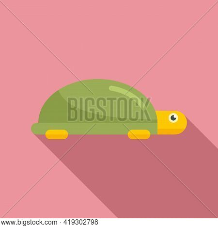 Turtle Toy Icon. Flat Illustration Of Turtle Toy Vector Icon For Web Design