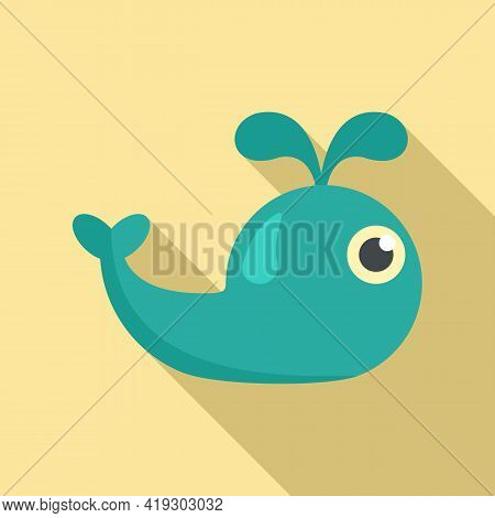 Ocean Whale Toy Icon. Flat Illustration Of Ocean Whale Toy Vector Icon For Web Design