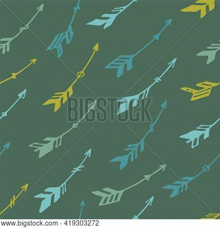 Simple Boho Arrows Graphic Seamless Ornament. Ethnic Rustic Design. Indigenous American Motif.