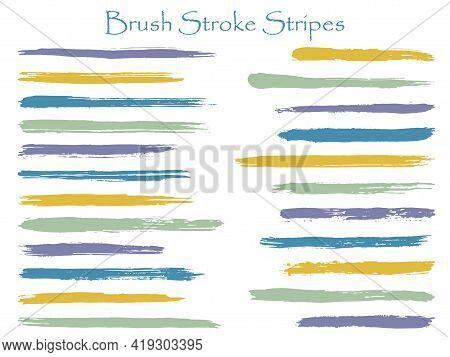 Craft Ink Brush Stroke Stripes Vector Set, Blue Horizontal Marker Or Paintbrush Lines Patch. Hand Dr