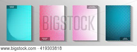 Grunge Point Perforated Halftone Title Page Templates Vector Series. Geometric Journal Faded