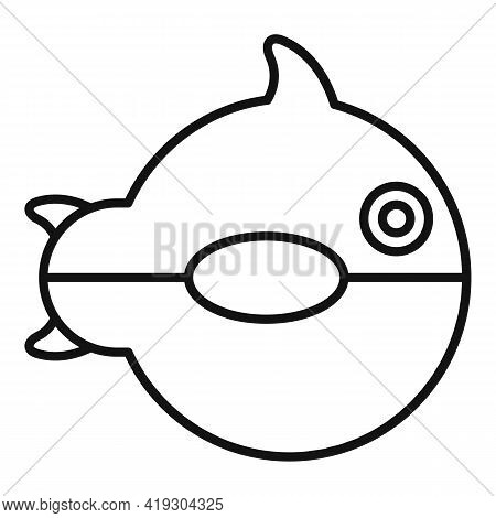 Ball Fish Toy Icon. Outline Ball Fish Toy Vector Icon For Web Design Isolated On White Background