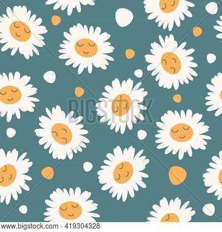 Abstract Floral Seamless Pattern With Chamomile With Cute Faces On Blue Background. Trendy Hand Draw