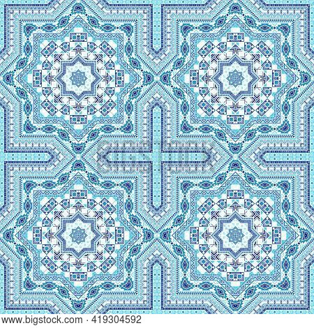 Delicate Portugese Azulejo Tile Seamless Pattern. Geometric Texture Vector Elements. Curtains Print