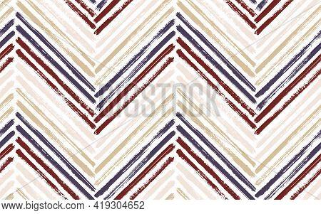 Horizontal Chevron Interior Print Vector Seamless Pattern. Ink Brushstrokes Geometric Stripes. Hand