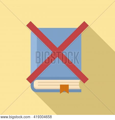 No Book Reading Teen Problem Icon. Flat Illustration Of No Book Reading Teen Problem Vector Icon For