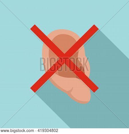 No Listen Teen Problem Icon. Flat Illustration Of No Listen Teen Problem Vector Icon For Web Design