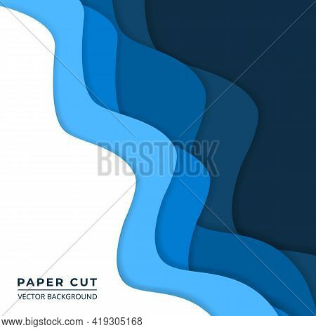 Blue And White Paper Cut Abstract Background. Wavy Paper Layers On A Dark Navy Blue Background. Vect