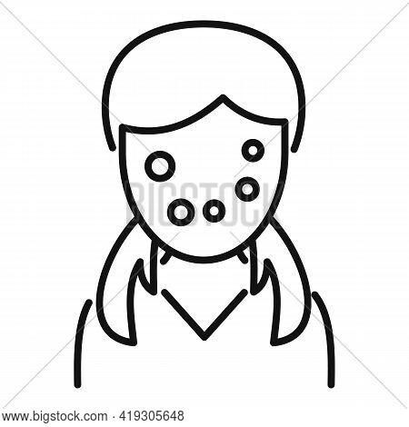 Girl Face Skin Teen Problems Icon. Outline Girl Face Skin Teen Problems Vector Icon For Web Design I
