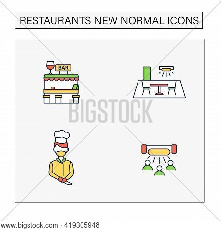 Restaurant New Normal Color Icons Set.disinfection,ultraviolet Light Disinfection,worker Uniform,out
