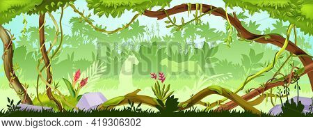 Jungle Forest Tree Background, Green Wood Vector Landscape, Leopard Silhouette, Bushes, Vine, Liana.