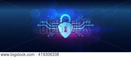 Data Protection, Privacy, And Internet Security Concept. Cyber  Security For Business And Internet P