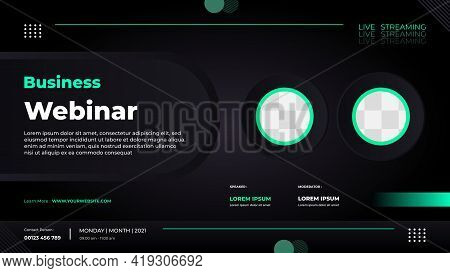 Website Banner Template For Business Webinar, Marketing Webinar, Conference Event Etc. With Green An