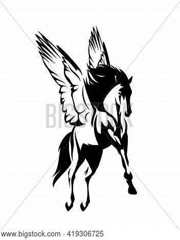 Pegasus Winged Horse Flying In The Air - Greek Mythology Inspiration Symbol Animal Black And White V